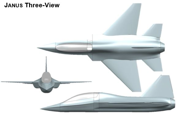 Three View Drawing of the JANUS Concept
